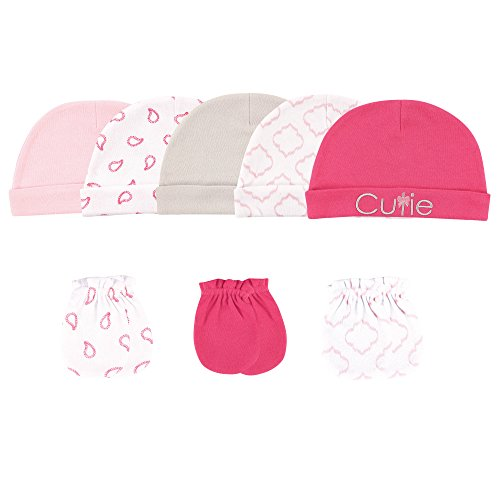 - Luvable Friends Baby 5 Cap and 3 Pack Scratch Mitten Set, Pink Cutie 8 Piece, 0-6 Months