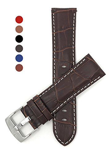 22mm Brown Mens' Alligator Style Genuine Leather Watch Strap Band, with White Stitching
