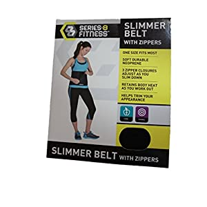 Series-8 Fitness Slimmer Belt Waist Trimmer with Zippers Black