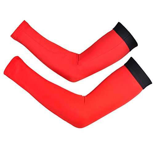 Cheji Compression Arm Warmers Outdoor Sports Size S US Red