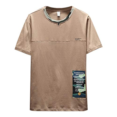 LEKODE Men T-Shirt Summer New Fashionable Solid Color Tee Comfortable Blouse(Khaki,S(M)) - Navy Seal Embroidered Sweatshirt