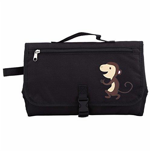 Portátil bebé pañal pañales cambiador con bolsillos de almacenamiento y asa de transporte para niños Grey Stripe Black Monkey