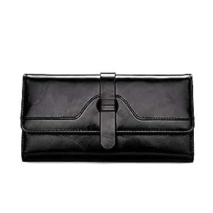 BOSTANTEN Wallets for Women Oil Wax Leather Trifold Large Capacity Multi Card Organizer Slim Designer Clutch Black
