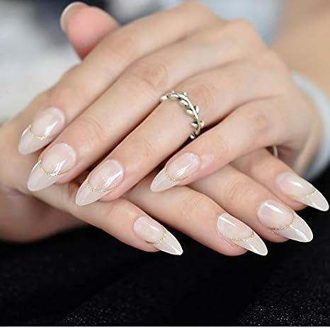 Uñas Postizas,Natural Francés Nails,Estilete Desnudo Uñas Postizas ...