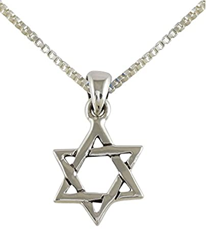 AJDesign 925 Sterling Silver Interlocking Star of David Pendant Necklace with Chain (18) (Star Of David Silver Pendant)