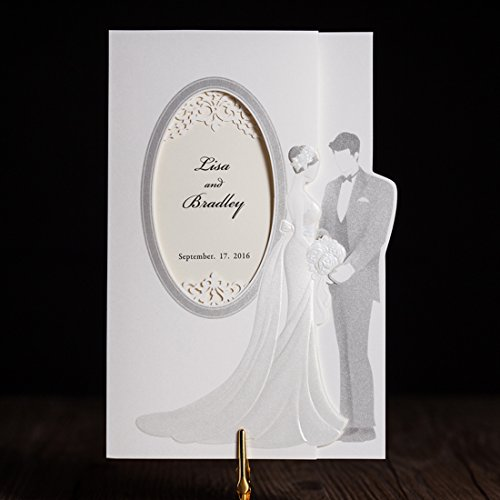 Personalized wedding invitations amazon wishmade 50x luxury trifold wedding invitations cards kits with embossed bride and groom paper cardstock for bridal shower engagement partyset of 50pcs stopboris Choice Image