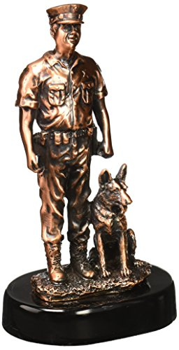 StealStreet SS-BA-DC1489AT, 8 Inch Bronze Police Officer with Trained Dog on Duty Display Statue