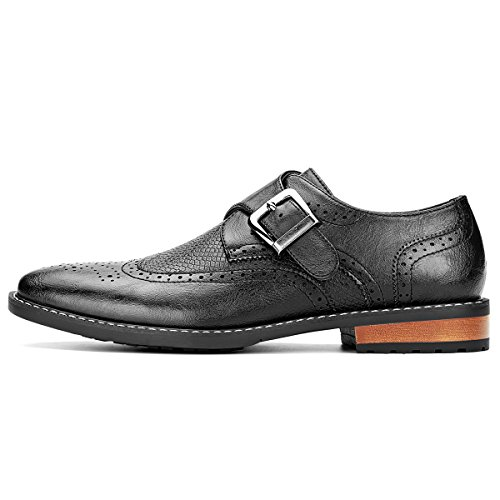 Men's Monk Strap Dress Shoes Wingtip Plaine Toe Single Buckle Slip on Loafer Black 10.5 by GM GOLAIMAN (Image #1)