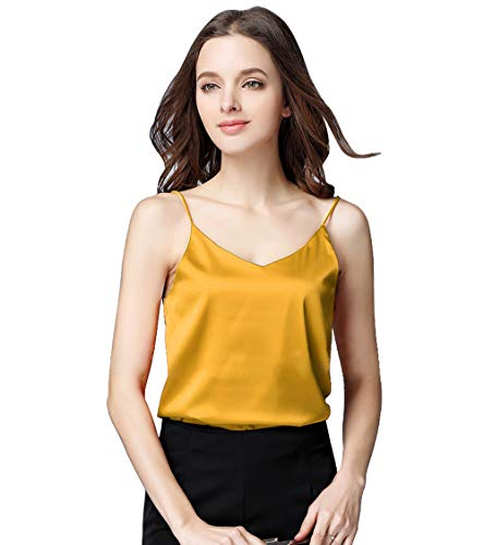 Basic Women's Silk Tank Top Ladies V-Neck Camisole Silky Loose Sleeveless Blouse Tank Shirt with Soft Satin Yellow