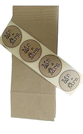 50 Bolsas kraft con etiqueta de cierre MR&MRS para sus ...