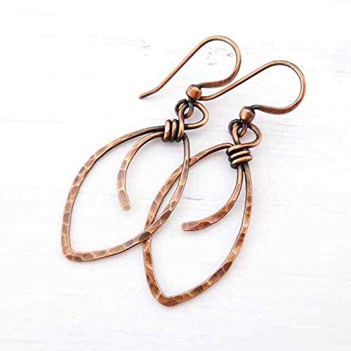 Marquis Shape (Hammered Copper Earrings marquis-shape wire wrapped handmade)