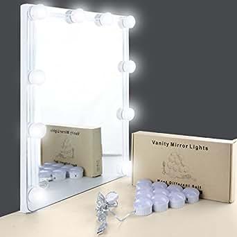 Espejo tocador con luz unifun 7000k espejo de maquillaje con luz 10 bombillas regulable de - Espejo con bombillas ikea ...