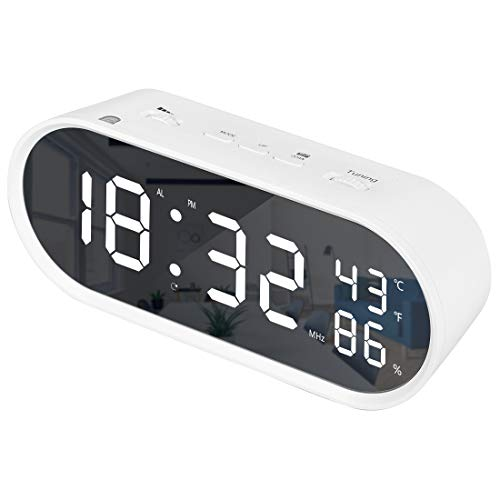 Digital Alarm Clock Radio Mirror Large Surface Led Screen Temperature Display with USB Changer Port Dimmer Snooze Sleep Timer for Bedroom Decor White