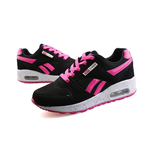 Women's Casual Mesh Lace Up Running Shoes Outdoor Sports Sneakers Black Pink 7.5 B(M)US