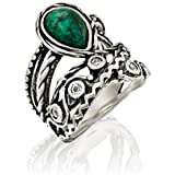 PZ Paz Creations 925 Sterling Silver Eilat Stone Statement Ring | Chrysocolla and White Topaz Gemstone | Textured Design Bohemian Jewelry for Women (7)