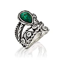 PZ Paz Creations 925 Sterling Silver Eilat Stone Statement Ring | Chrysocolla and White Topaz Gemstone | Textured Design Bohemian Jewelry for Women
