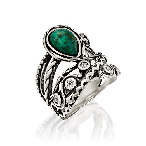 PZ Paz Creations .925 Sterling Silver Pear-Shaped Chrysocolla and White Topaz Gemstone Textured Ring (10)