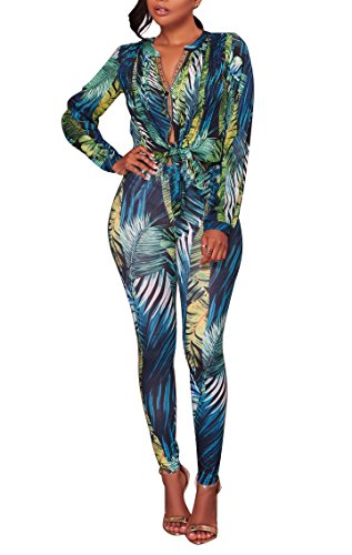 Playworld 2 Piece Outfits For Women Floral Print Stretch Long Sleeve V Neck Blouse + Bodycon Long Pants by Playworld