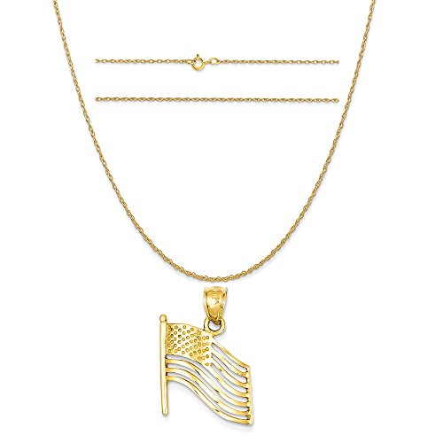 14k Yellow Gold American Flag (14k Yellow Gold American Flag Pendant on a 14K Yellow Gold Carded Rope Chain Necklace, 16