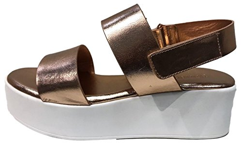 BB Bonus-01M Slingback Flatform Wedge Strappy Gladiator Sandal Metallic Rose Gold Rose Gold 7Fvejq0