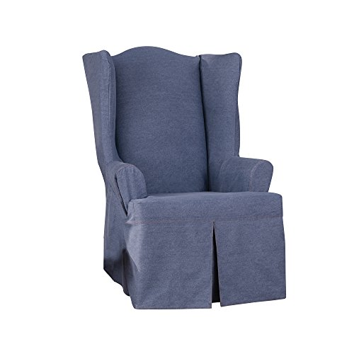 Sure Fit Authentic Denim Wing Chair Slipcover - Indigo (SF43631) ()