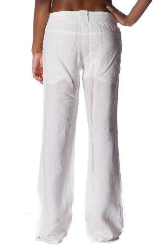 Fluid Long Linen Pant (Med, Off White)