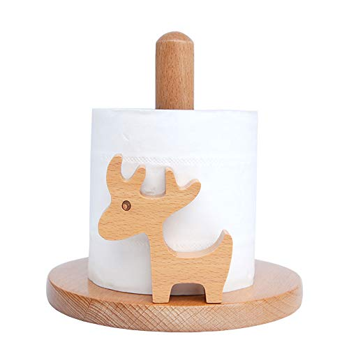 GOT YI Wooden Paper Towel Holder Simply Standing Roll Napkin Organizer (Elk-1, S=WxH:6.24x6.43 inches)