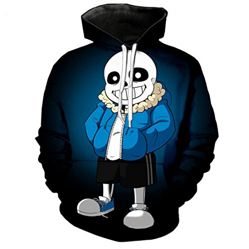 MaeFte Undertale Sweater Blue Cosplay Coustumes Sans Skull Hoodie (S, Blue 2)