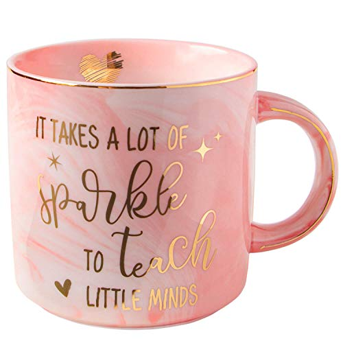 Vilight Teacher Gifts Teachers Mug for Women - It Takes A Lot of Sparkles to Teach Little Minds - Gift for Preschool Daycare Teacher Pink Marble Ceramic Coffee Cup 11 Oz