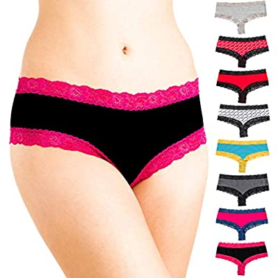 Alyce Intimates Women's Cotton Bikini Hipster with Lace Trim, Pack of 8