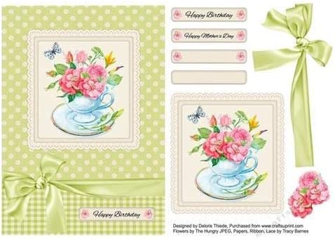 Watercolor Flowers Teacup Card Topper Birthday//Mothers Day by Deloris Thiede