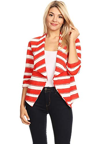 - Solid & Printed Open Blazer Cardigan Jacket/Made in USA Stripe Red L