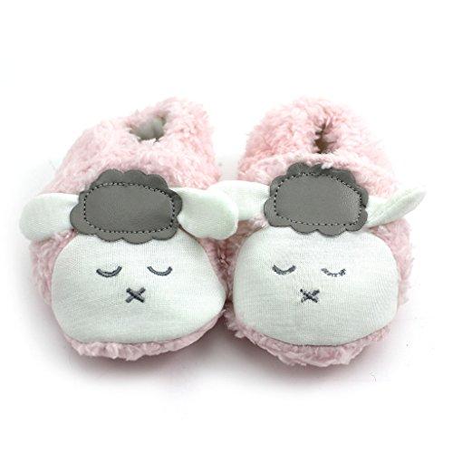 Nette Schafe Design Baby Kleinkinder Prewalker Weiche Koralle Samt Warme Schuhe Rosa 12cm