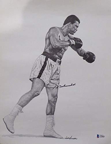 Muhammad Ali Autographed 11x14 Sketch Lithograph Photo Beckett BAS #A70603