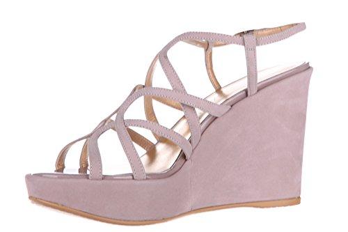 Stuart Weitzman compensées escarpins chaussures sandales femme daim beige