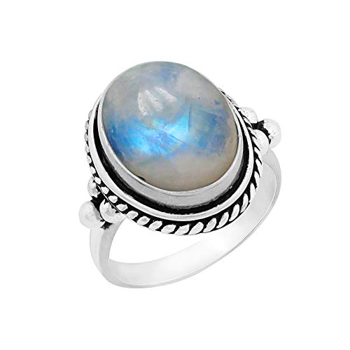 Genuine Large Oval Shape Rainbow Moonstone Solitaire Ring 925 Silver Plated Vintage Style Handmade for Women Girls -