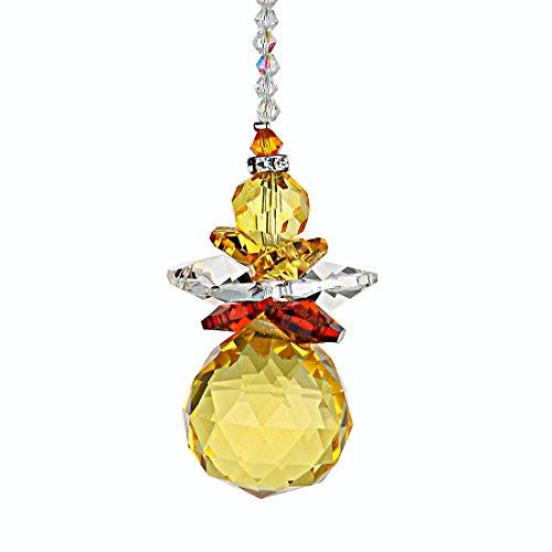 H&D Hanging Crystal Angel Suncatcher Rainbow Maker Guardian Angel Ornament for Home Window Decor (Yellow)