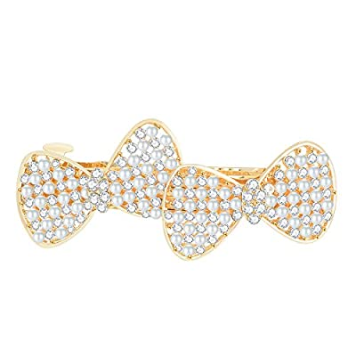 IPINK-Bow Design Hairpin Lovely Vintage Jewelry Crystal Pearl Clip Beauty Tools
