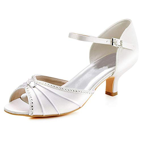 Sky-Pegasus sandals Woman Heel Peep Toe Bride Bridesmaid Lady Evening Dress Shoes White Ivory Pink ()