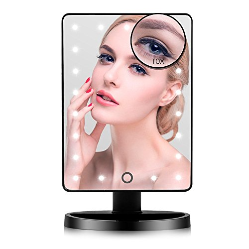 LED Lighted Makeup Mirror, FUNTOUCH Lighted Vanity Mirror with 21 LED Lights -