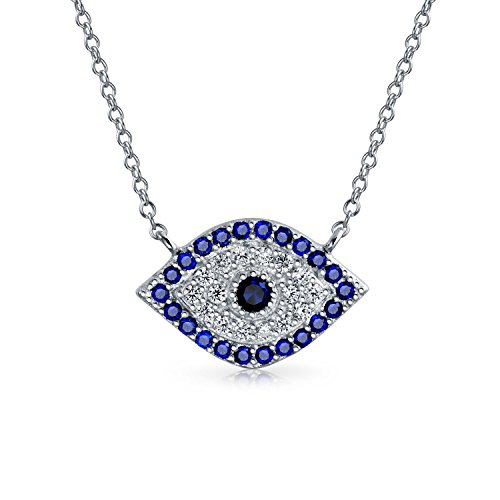 (Blue Cubic Zirconia CZ Spiritual Evil Eye Necklace For Women For Teen 925 Sterling Silver)