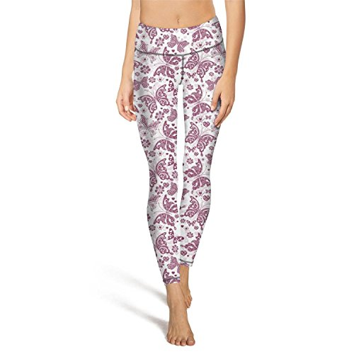 (Rus Ababy Women's Yoga Leggings with Pocket The Watercolor Butterfly Stretchy High Waist Sports Yoga Pants)
