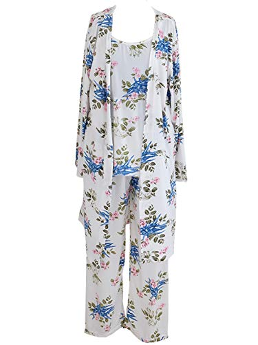 Women's Sleepwear Sets Elegant 3pcs Pajamas Floral Cami Dressing Gown and Pants Suits (10_XL, Camellia White) Nightwear 3 Piece Set Bathrobe Cleavage Full Coverage Negligee Panties Slender -