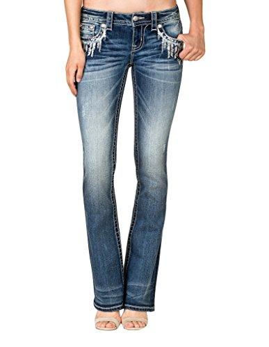 Embroidered Slim Cut Jeans (Miss Me Women's Embroidered Slim Bootcut Jeans Blue 29)