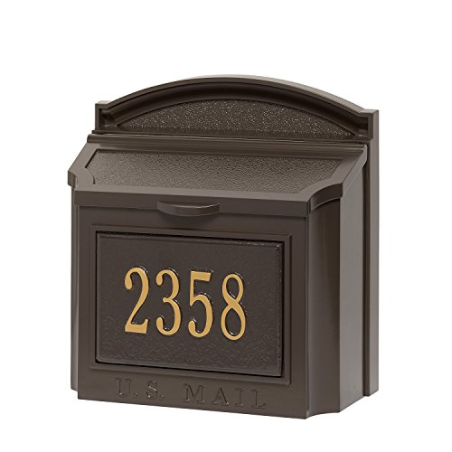 Whitehall Custom Wall Mount Mailbox Package - House Number and Street Name - Sand Cast Aluminum - French Bronze Personalized in Goldtone