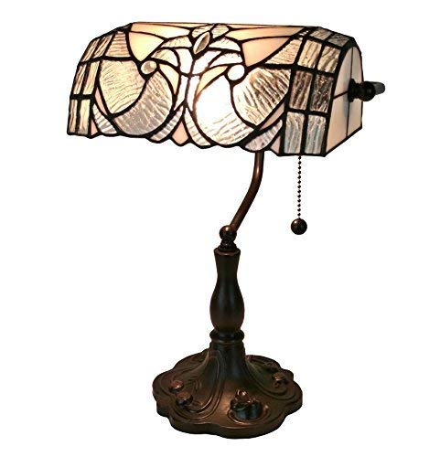 Tiffany Style Table Lamp Banker 14 Tall Stained Glass White Grey Vintage Antique Light D cor Nightstand Living Room Bedroom Handmade Gift AM250TL10 Amora Lighting