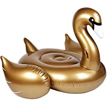 SunnyLIFE Luxury Adult Inflatable Pool Float Ride On Beach Toy - Gold Swan