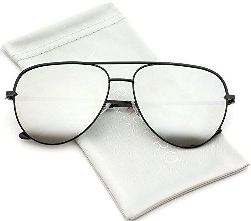 WearMe Pro - Oversized Flat Lens Fashion Designer Inspired Aviator - Sunglasses Sizes Aviator