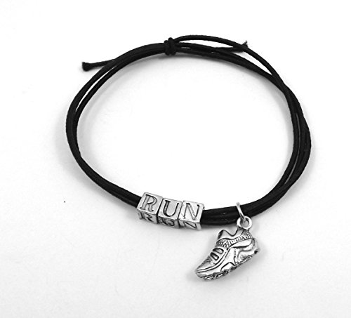 - Black Stretch Cord Bracelets with the Letters *RUN* and Pewter Track/Running Shoe Charm