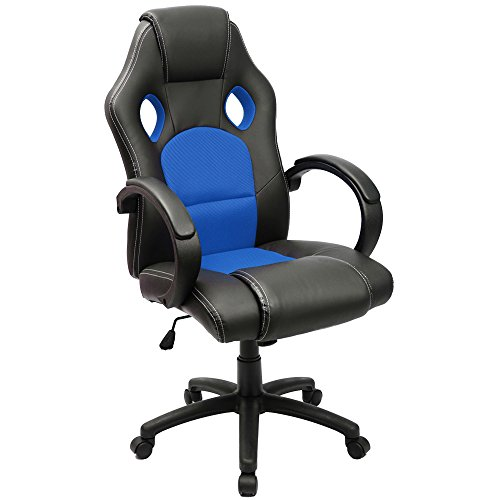 Furmax Office Chair Leather Desk Gaming Chair, High Back Ergonomic Adjustable Racing Chair,Task Swivel Executive Computer Chair Headrest and Lumbar Support (Blue)